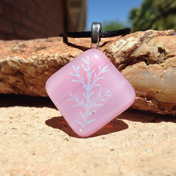 SALE Pink Pendant with Dichroic Design  Pastel Pink Necklace  #glassitup @KilnKarma