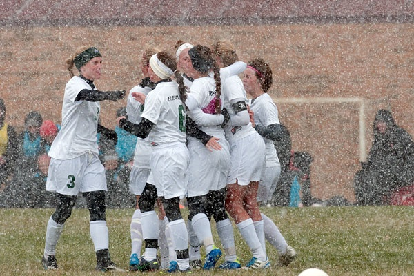 A little snow wont stop these girls from winning! Read more about how BSU defeated St. Cloud http://www.bsubeavers.com/wsoccer/news/2012/6145/beavers-earn-2-1-victory-in-wintery-home-finale/