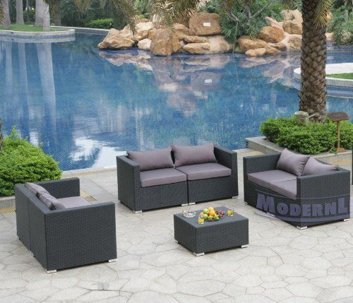 Modern Furniture All-Weather Collection: Set of 3 Grey Loveseats and 1 Coffee Table by ModernLineFurniture. $1995.95. In stock in NJ warehouse.. Covers are conveniently removable and machine washable. Outdoor furniture features: Resin wicker material and frame w/ rust-proof coated aluminum. Ships within 4-5 days.. Set includes 6 modular components (6 Corners - creates 3 loveseats), Pillows, and 1 Coffee Table. Dimensions: See photo above for the proper measurements