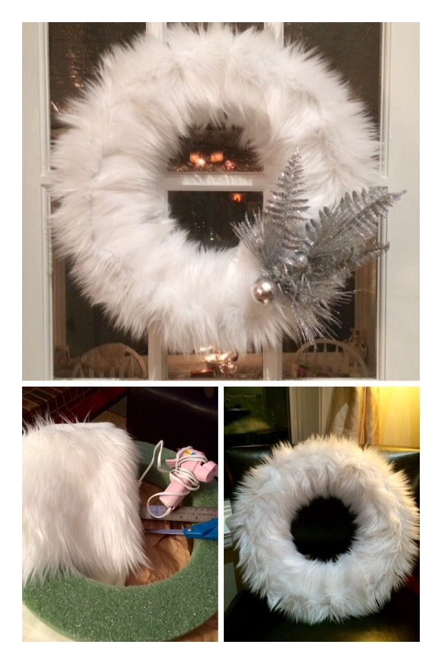 Faux Fur Wreath ~ I was shopping at Pair 1 & fell in love with a pretty faux fur wreath they had. I wanted to purchase the wreath but sixty-five Bucks was too much for me. I decided to pick up supplies to make my own, I spent twenty-five bucks & 2 hours later BAM, a beautiful wreath that turned out better than the one at the store!