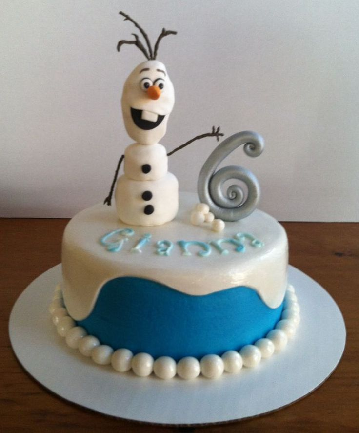 "Olaf (Frozen) - yellow cake, chocolate buttercream filling, vanilla buttercream frosting. The ""snow"" on top, border, and snow ball..."