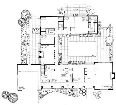Floor plans aflfpw21604 1 story ranch home with 3 for One story house plans with courtyard