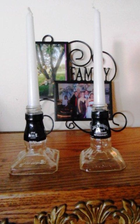 Jack Daniel's Bottle Candle holders by AmericanHomeCrafts on Etsy, $19.99