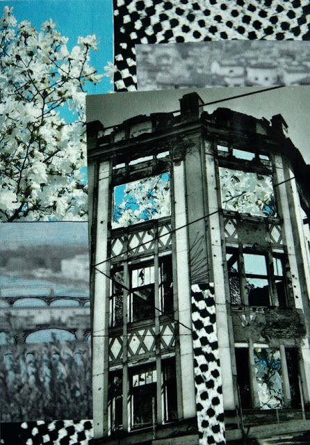 Recycled material. Urban black and white with a blossoming tree.
