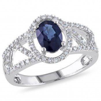 10k White Gold 1 Carat T.G.W Sapphire and 1/5 Carat Diamond Fashion Ring - Sapphire (September) - Gemstones - by Samuels Jewelers
