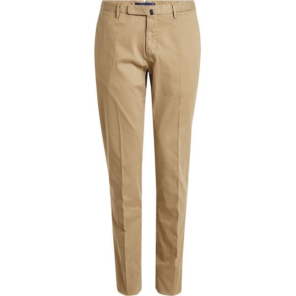 Incotex Cotton Chinos (16.980 RUB) ❤ liked on Polyvore featuring men's fashion, men's clothing, men's pants, men's casual pants, beige, mens chinos pants, mens slim fit pants, mens chino pants, mens slim pants and mens slim fit chino pants