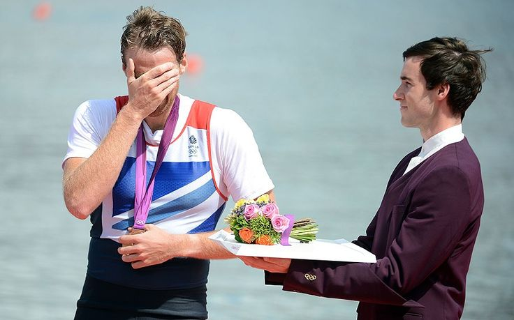 Alan Campbell of Great Britain cries after receiving his bronze medal during the medal ceremony for the Men's Single Sculls final on Day 7 of the London 2012 Olympic Games