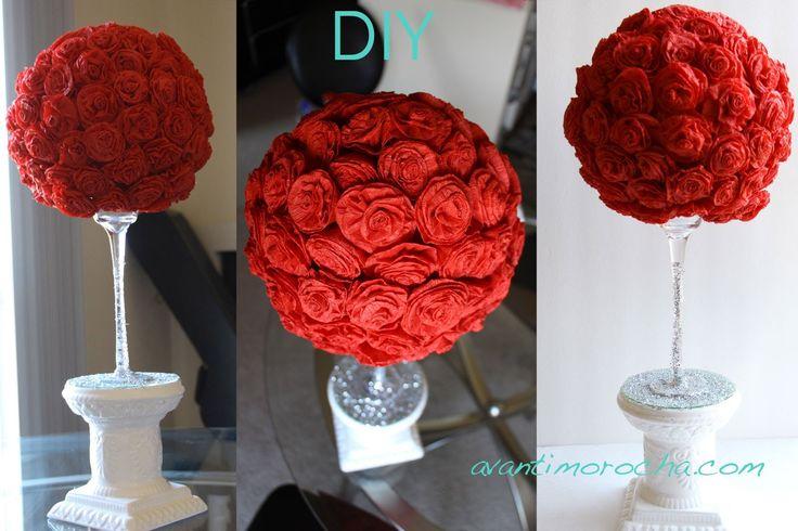"""DIY """" Hazlo tu misma"""" Adorno de rosas de papel crepe / Paper Rose topiar..."""