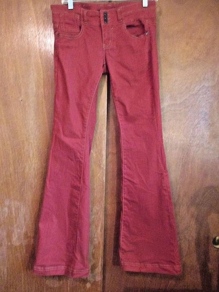 Tinseltown Jeans Women's Stretch Denim Jeans Burnt Orange Boot Cut Size 7 x 33  #Tinseltown #BootCut