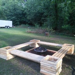 Check out this project on RYOBI Nation -  landscape timbers from Home Depot.  Now we can enjoy the nights sitting around the fire.