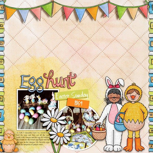 Easter scrapbook page created with the Egg Hunters digital scrapbook kit from Kate Hadfield Designs! | Layout by Creative Team member Christa