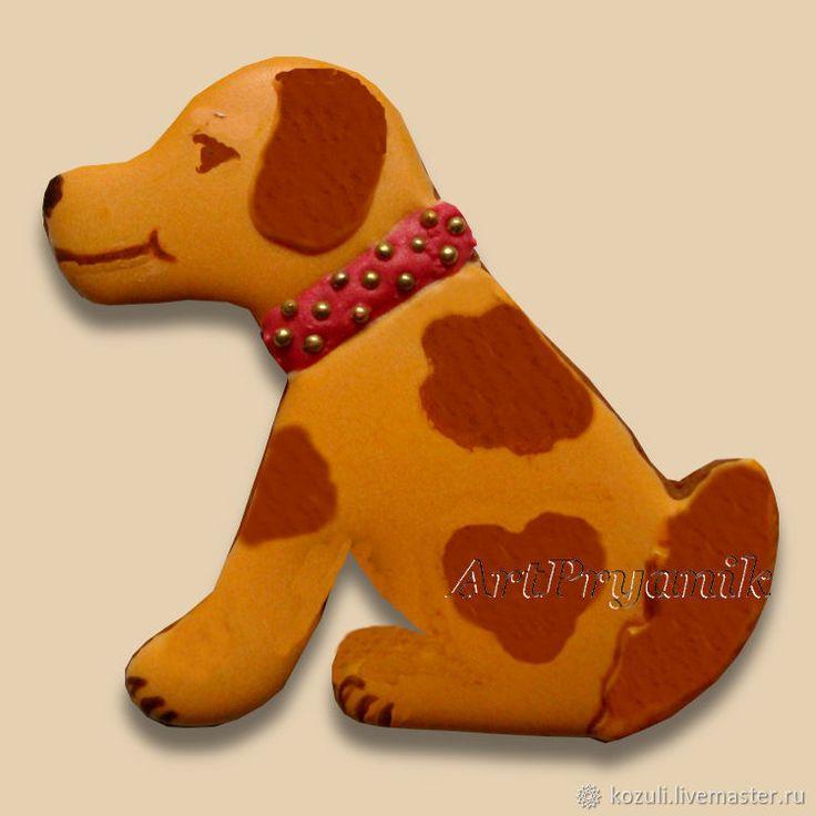 Купить Имбирное печенье Желтая собака - символ года 2018, Год Собаки - елочные украшения, подарок ребенку