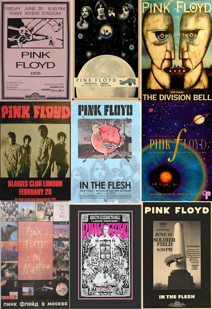 ☮ American Hippie Classic Rock Music ~ Pink Floyd . . . Concert Poster Collage