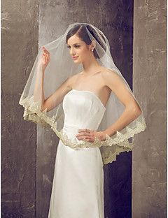 One-tier velo da sposa punta delle dita con bordo Applique