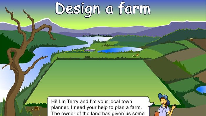 Design a farm - Mathematics (7). Help a town planner to design a site plan for a farm.  Using a 10 x 20 grid for your site plan, design areas for two regions (orchards and houses) based on decimals you are given. Assign the area for an additional six regions, using decimals of your choice.