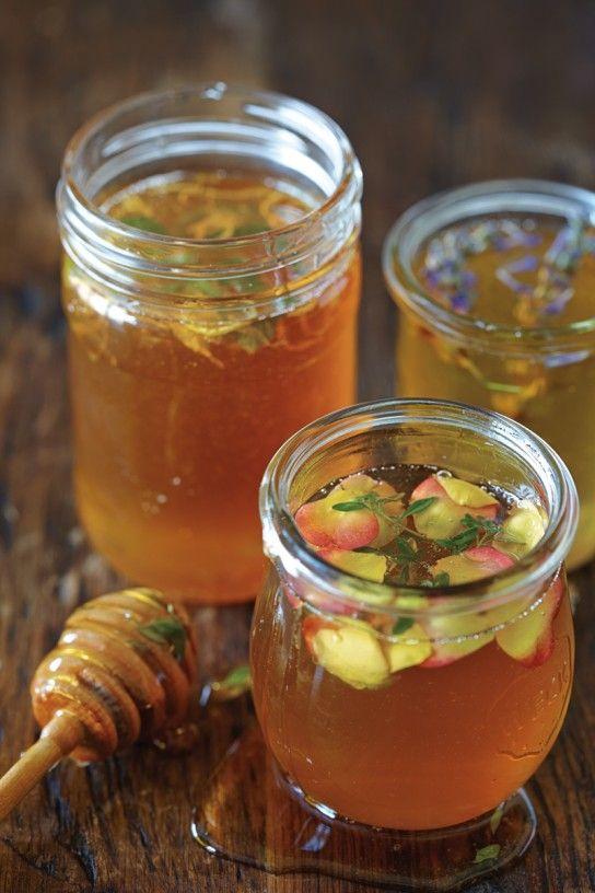 Flavored Honey in #Weck Jars: Ginger-Cardamom, Lavender, Lemon Verbena, Rose-Lemon Thyme