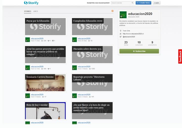Storify: Con 23 stories, la cuenta de Educación 2020 se mantiene activa. Posee 10 subscriptores y está suscrito a 9 cuentas.  La última historia #Payasporlaeducacion corresponde a 13 días atrás y tiene más de 200 vistas. La competencia de Ed. 2020 no posee cuenta en esta herramienta social de curatoría.