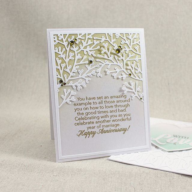 Wooded Anniversary Card by Lizzie Jones for Papertrey Ink (December 2015)