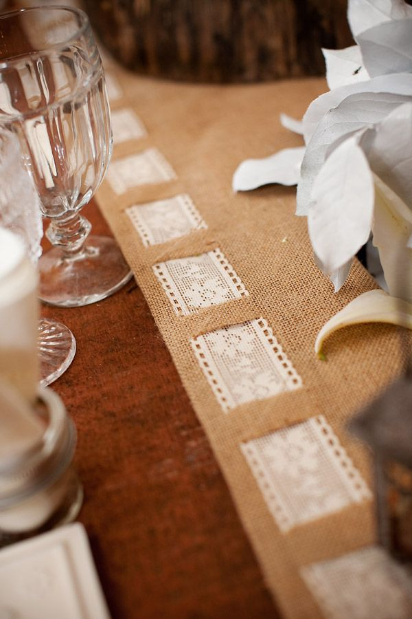 cute table runner. Another way to do the burlap and lace