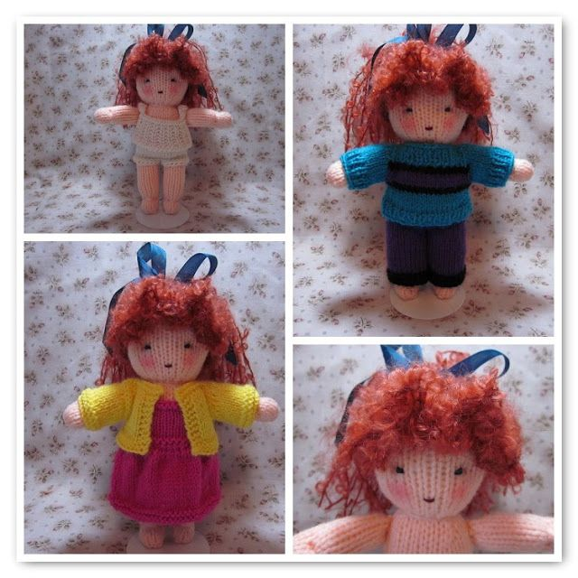 Simple Knit Doll ( 9 to 10 inches tall) and her simple Knit Wardrobe (camisole and underwear, dress, sweater, pullover sweater, pants) Just click the red letters to download the Free Patterns