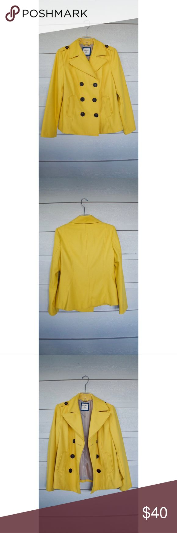 "Classic Women's Wool Peacoat NEVER WORN 24"" Women's Peacoat w/ wooden buttons Canary yellow classic cut w/ wide spread collar & notched lapel  Wool/Poly Dry clean Old Navy Jackets & Coats Pea Coats"
