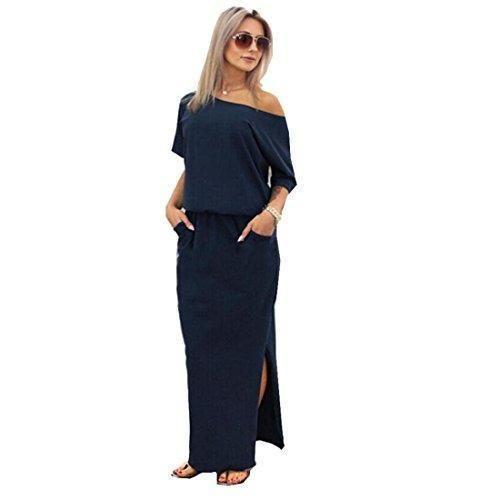 Oferta: 9.99€. Comprar Ofertas de Tongshi Vestido de las mujeres del partido de tarde de verano maxi largo de con Pocket (EU 38 (Asia L), azul marino) barato. ¡Mira las ofertas!