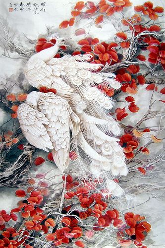 beautiful painting....i love the way the red leaves and white feathers play well with each other.