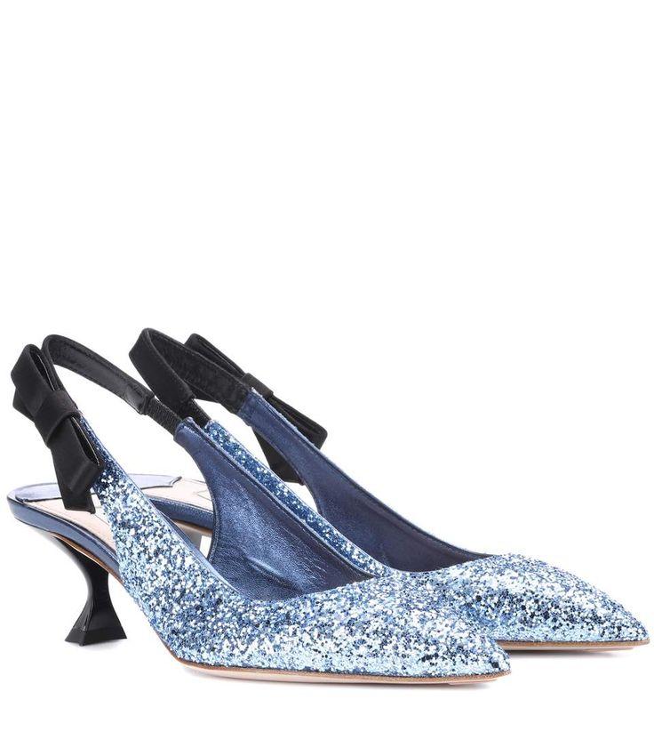 Slingback-Pumps mit Glitter in Blau