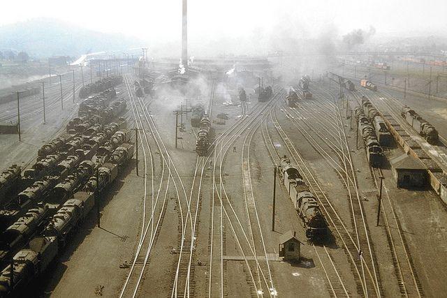 Pennsylvania Railroad view of steam locomotives seen in the shop and yard area at East Altoona, Pennsylvania, September 16, 1955, John Dziobko Jr. Photo