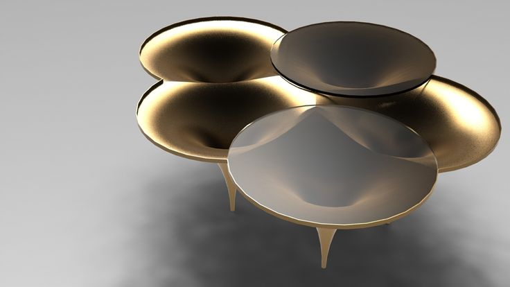 Modular side table system inspired by gothic architecture and structures, it can be used solo or assembled into a composition of different height levels forming a cathedral like set. Made of hand or machine spun anodized aluminum or polished brass with ci…