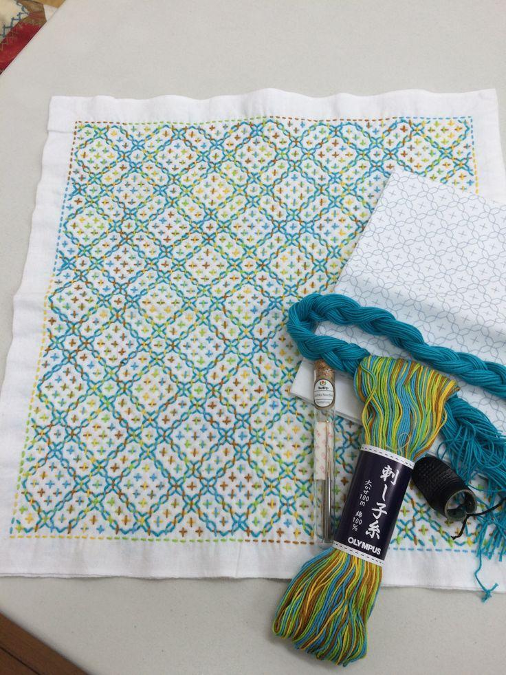 Hitomezashi (One Stitch Sashiko) cloth. Fun and easy to do. Love using tulip sashiko needles