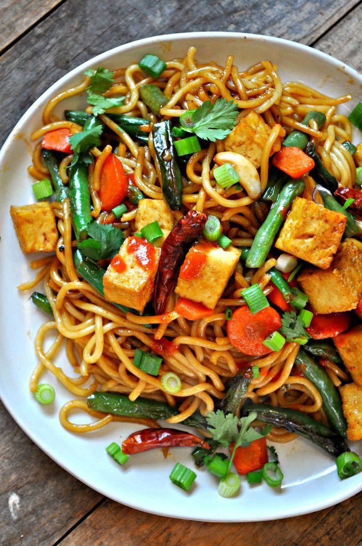 Vegan Garlic Sriracha Tofu Yakisoba   Recipe   Savory Dishes