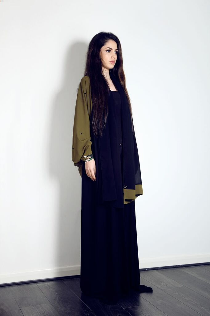 For only £135 you can get this beautiful Khaki cape Abaya with black beads, on our website now.