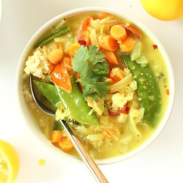 30-Minute Coconut Curry with loads of veggies over coconut quinoa. Simple, quick, and so delicious. Vegan and gluten-free.