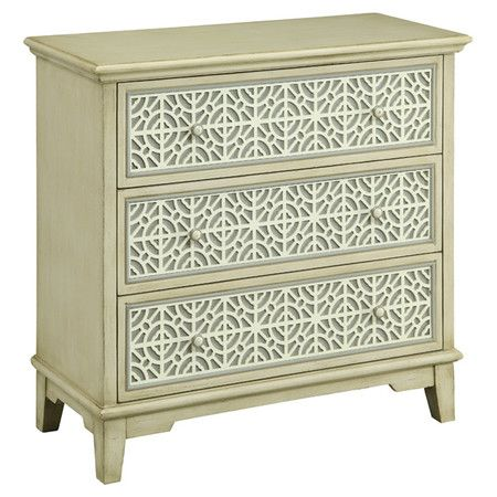 Spray paint metal pattern sheeting and add to front of dresser!