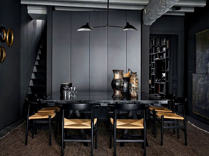 Nice Home Dining Rooms. Crisp Masculine Dining room  dark mood with rustic chairs and black contemporary lighting Lyon 168 best DINING images on Pinterest Concept kitchens Cozy