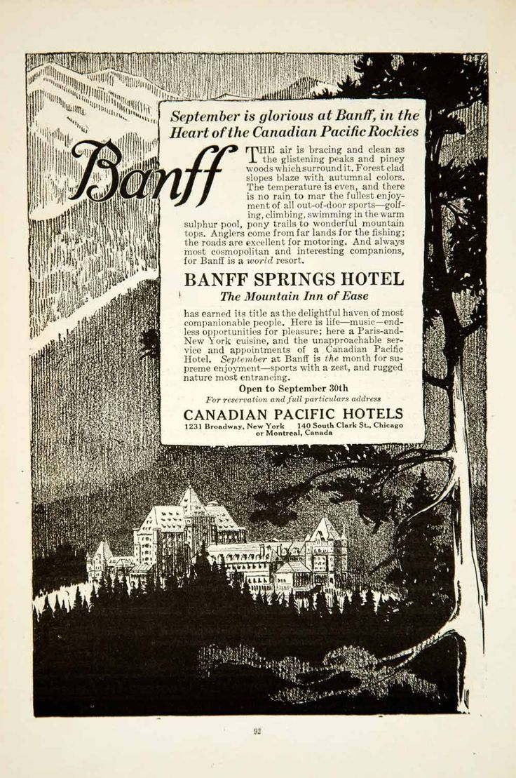 1919 Ad Banff Springs Hotel Resort Canadian Pacific Railway National Park YSC1