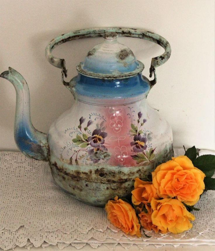French Vintage Rare Rustic Large Enamel Teapot Kettle #French