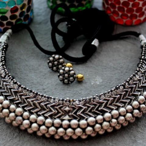 Oxidised Vajratik Image Indian Jewellery Pinterest