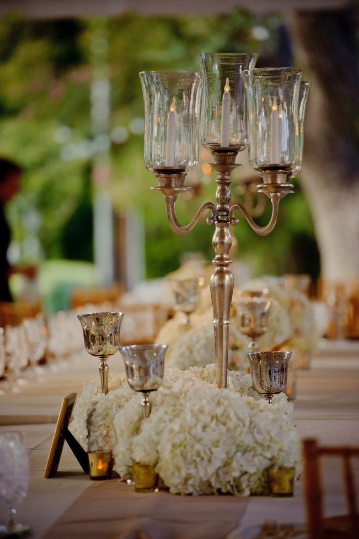 (Optional)Other Tables Will Have Tall Silver Candelabras With LED Taper  Candles In Fluted