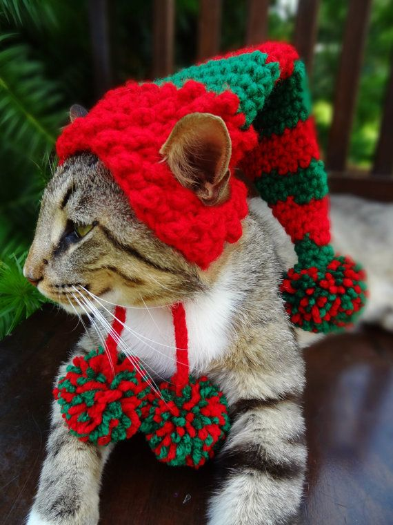 Cat Dog Christmas Hat Elf Hat Stocking Cap by iheartneedlework