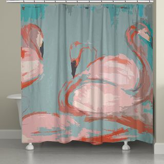 the soft lines and beautiful imagery in laural homes pink flamingos shower curtain are the perfect addition to any bathroom decor - Pink Flamingo Bath Decor