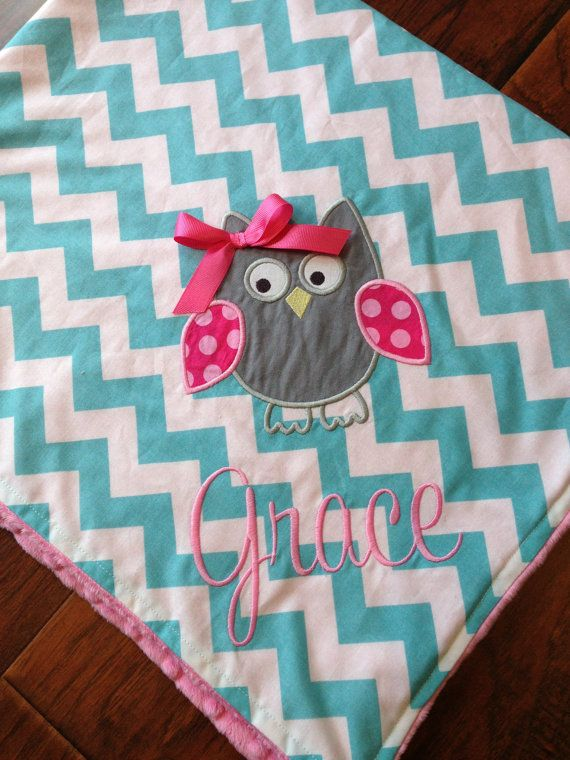 Personalized Baby Blanket Minky Baby Blanket by FunnyFarmCreations