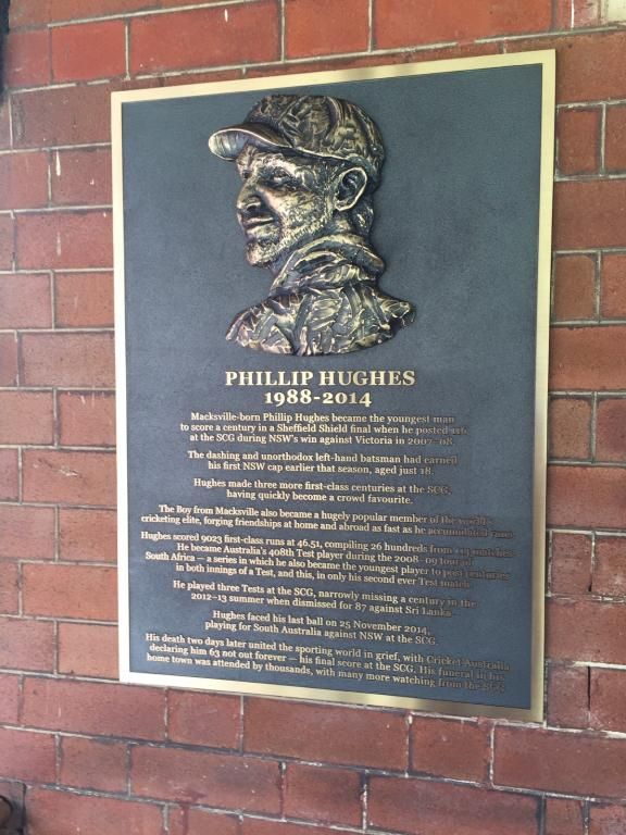 Cunneen Signs - Sydney Cricket Ground; Phillip Hughes commemorative plaque.