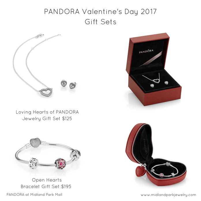 Start her a bracelet. Give her a jewelry set. Complete in special gift packaging, our Valentine's Day gift sets convey love, affection, and caring. The Open Hearts Bracelet Gift Set is a special way to start someone a bracelet. They'll remember that the original bracelet and charms came from you, but they'll also enjoy picking out PANDORA charms one by one as they complete a unique bracelet. This gift set comes with a red leather heart-shaped gift box. The Loving Hearts of PANDORA jewelry…