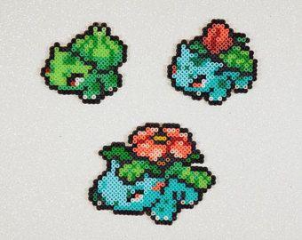 Bulbasaur, Ivysaur, Bisaflor – Elfen – Pokemon Kunst – Perlers – Perler Perlen – 8-Bit Nintendo-Kanto Starter-Pokemon Geschenk-magnet
