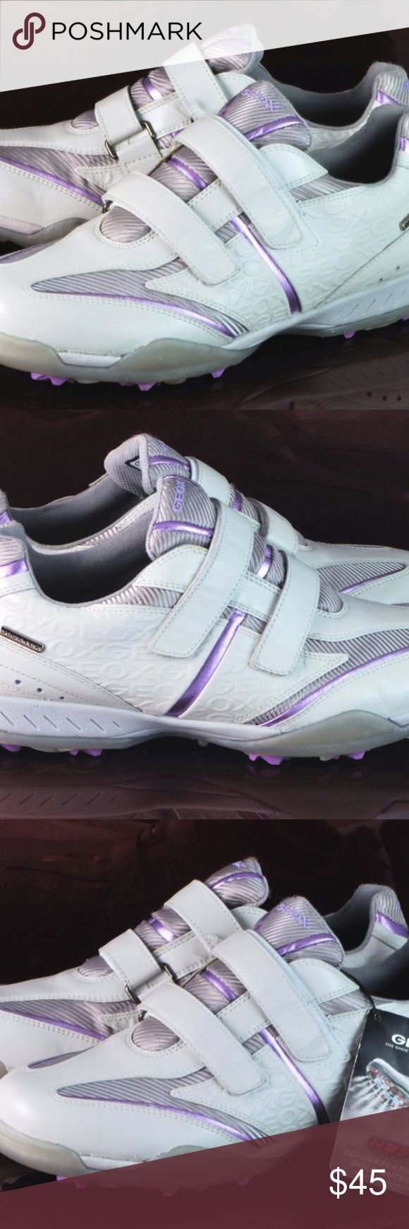 "Geox Fusion Golf Shoes White w/LiliacTrim New GEOX Fusion Breathable Golf Shoes Color: White Gray/Liliac Metallic Trims Size US 8 ( Euro 39 UK 6) New No Box ~~~~~~~~~~~~~~~~~~~~~~~~~~~~~~~~~~~~~~~~~~~~~~~~~~~~~~~~~~~~~~~~~~~~~~~~~~~~~~~~~ Sizing can be different from shoe to shoe - sole length is 11"" long +Waterproof full grain leather upper with leather overlays +GEOX Net System allows the foot to breathe over the entire surface of the sole, without allowing water penetration +Lightweight…"