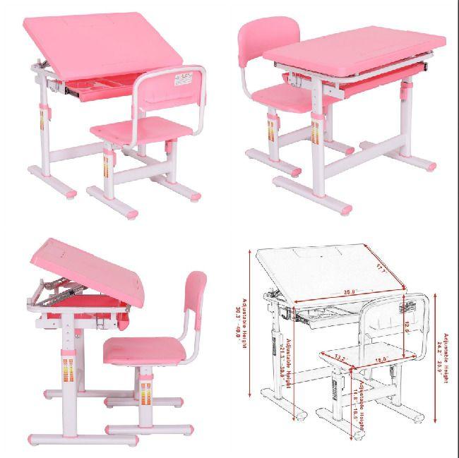 Kids Desk and Chair School Homework Study Room Adjustable Desktop Workstations  #KidsDeskandChair