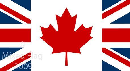 british canadian flag together