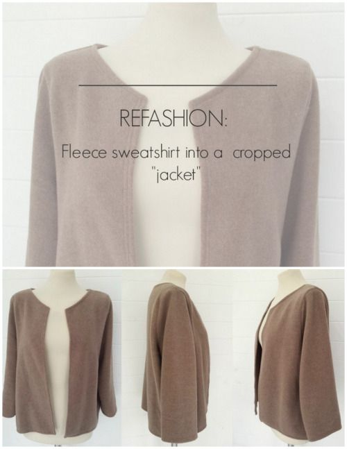 DIY Sweatshirt to Jacket Tutorial from Makery.Make this DIY...